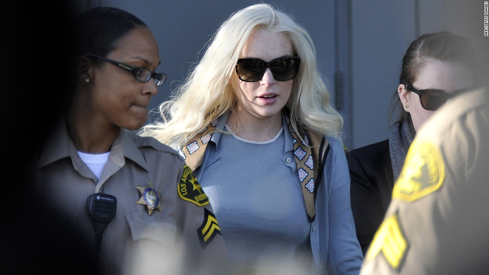 Lohan leaves a progress report hearing at Venice Airport Branch Courthouse in Los Angeles in January 2012.
