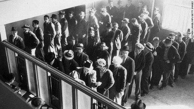 Join the line for happiness? Unemployed men at the state employment office, San Francisco, 1938.
