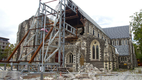 Christchurch Cathedral remains in ruins after it was badly damaged during the magnitude 6.3 quake, which ripped through the New Zealand city of Christchurch.