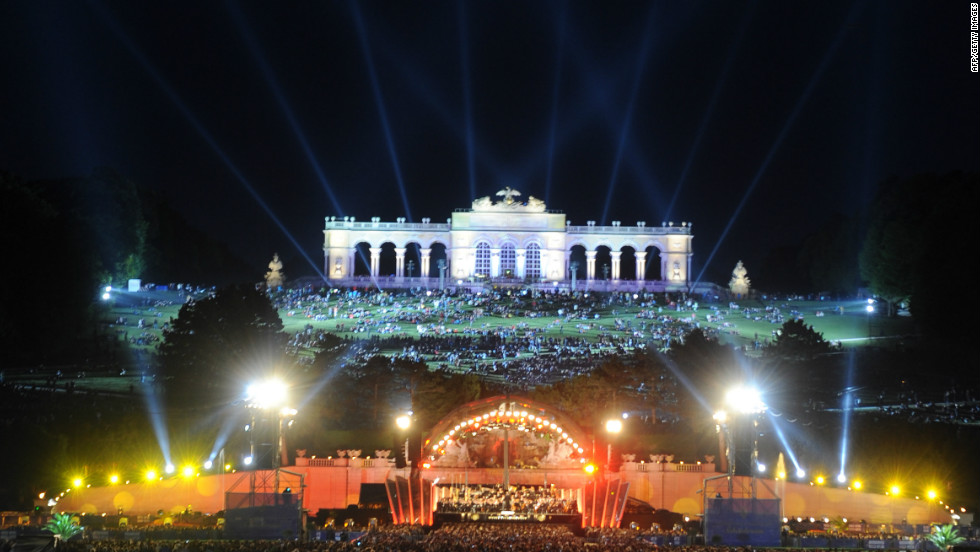 The city is a world-class destination for music lovers, and was once home to both Mozart and Beethoven.<br /><br />Pictured is the Vienna Philharmonic Orchestra performing an open air concert against the backdrop of Schoenbrunn Palace in June 2011.