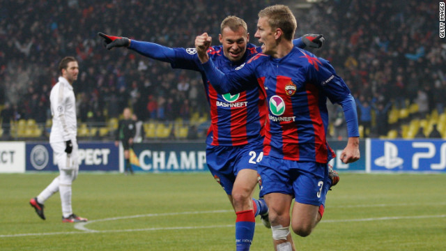 Pontus Wernbloom celebrates his last-gasp equalizer as CSKA Moscow drew 1-1 with Real Madrid.