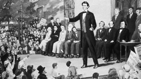 An illustration depicts an 1858 Lincoln-Douglas debate: Avlon says today's GOP campaigns are more Buster Douglas.