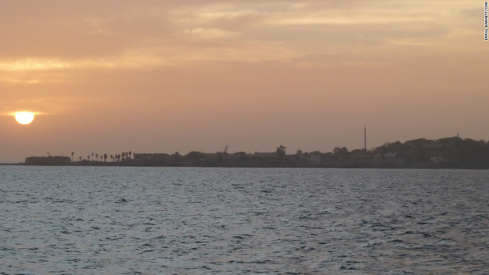 View of Gorée Island from ferry boats.