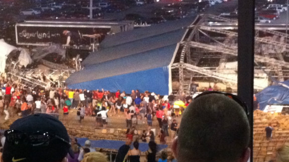 iReporter Agnes Schade captured this photo after wind caused a stage to collapse at the Indiana State Fair in  August  2011.