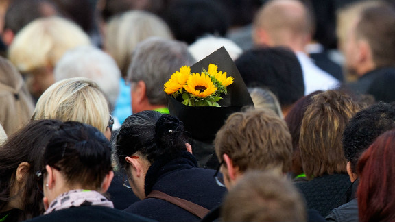 Flowers at a memorial service to remember those killed when a 6.3 magnitude earthquake hit the New Zealand city of Christchurch last year.