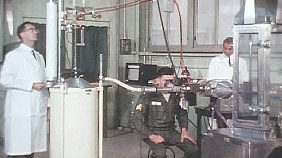 A soldier volunteer and researchers conduct a test in 1963 at the Army's Edgewood Chemical Biological Center.
