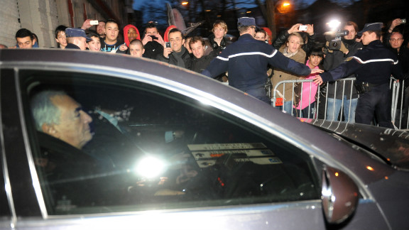 Former IMF chief Dominique Strauss-Kahn leaves a police station Wednesday in Lille, France, after two days of questioning.