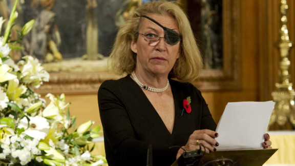 Marie Colvin of The Sunday Times, gives the address during a service at St. Bride