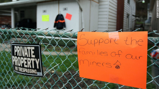 A sign shows support for coal miners after an April 2010 explosion at the Upper Big Branch mine in Whitesville, West Virginia.