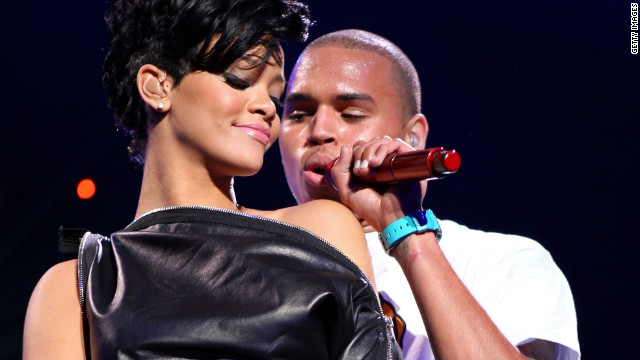 Rihanna and Chris Brown perform together in December 2008.