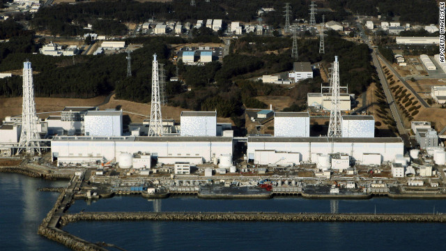 The quake-damaged nuclear power plant in the town of Futaba, Fukushima prefecture, is shown in March 2011.