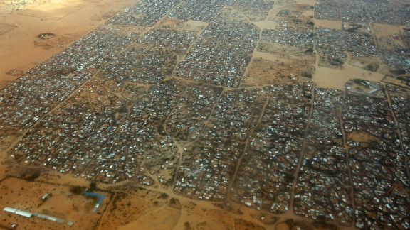 An aerial view of the Dagahaley refugee camp which makes up part of neighboring Kenya