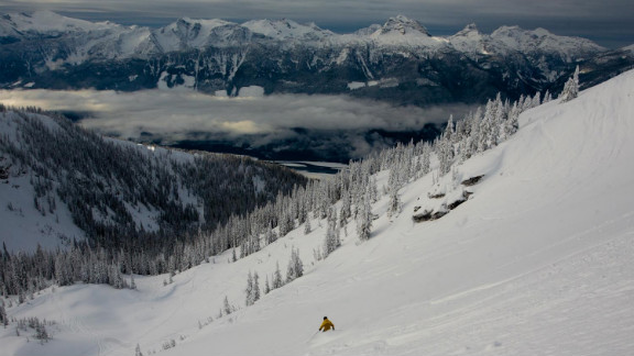 Revelstoke receives some 60 feet of annual snowfall at the highest elevations.