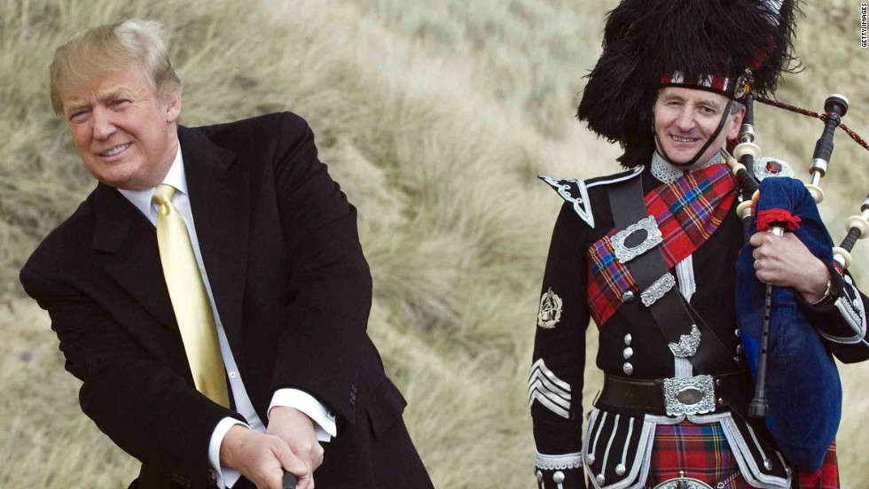Donald Trump received a bagpipe welcome on one of his visits to the site of his championship course in Aberdeenshire.