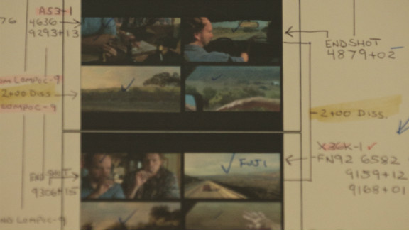 """Among Tent's memorabilia is a split-screen diagram from """"Sideways,"""" made for a production house."""