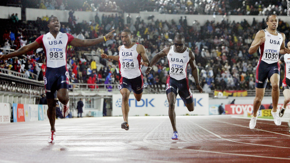 Gay's first outing at the World Championships at Helsinki's Olympic Stadium in 2005 ended without a medal. Here he can be seen (second from left) finishing fourth in the 200m final.