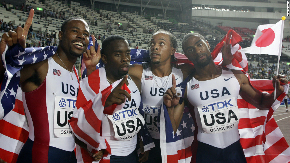 Gay also won gold as part of the U.S. 4x100m relay team.