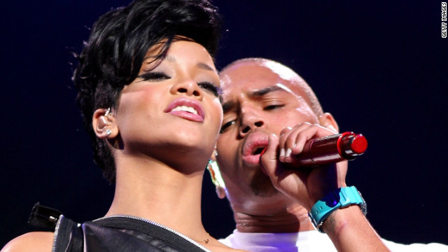 Rihanna and Chris Brown performing together in New York in 2008.