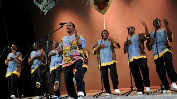 Ladysmith Black Mambazo performs during the opening ceremony of the annual general meeting of the members of the International Olympic Committee in Durban, South Africa.