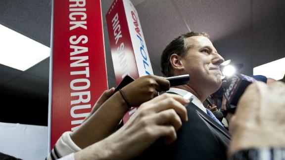 Rick Santorum speaks to reporters after the CNN Republican Presidential Debate in Mesa, Arizona, on February 22.