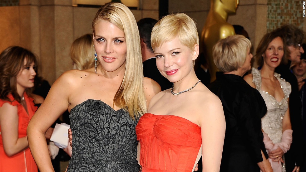 "Michelle Williams, right, nominated for her role in ""My Week With Marilyn,"" brought her best friend, ""Cougar Town"" actress Busy Phillips."