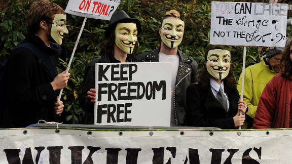 Supporters of WikiLeaks founder Julian Assange gather in southeast London in February 2011.
