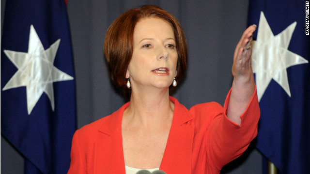 Australian PM Julia Gillard is pictured after emerging victorious from the Labor leadership challenge in Canberra on February 27.