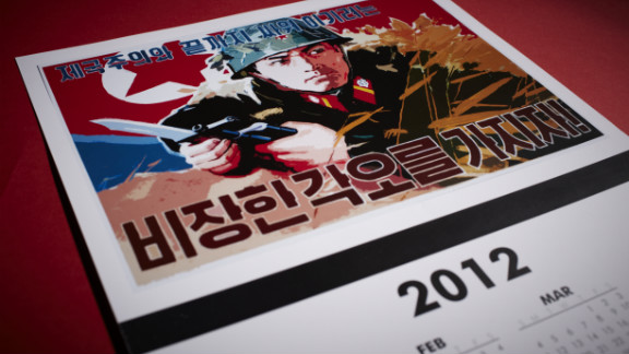"Ever desperate for hard currency, the official website of North Korea offers propaganda art for sale, including some of Song Byeok's designs. Artwork promoting the North Korean regime is available on beer steins, clocks and even iPad and iPhone covers. The items are made in places as diverse and as far from North Korea as El Salvador and Pakistan. They are for sale in U.S. dollars and ship from California. This calendar sells for $5.99 and says ""We must be determined to fight and win against imperialism."" You can also order this motif on an insulated bottle or can holder."