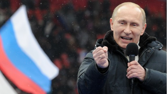 Putin speaks to supporters at a Moscow rally in February 2012. He won the presidential election one month later with just under 65% of the vote. Former President Medvedev became his Prime Minister.