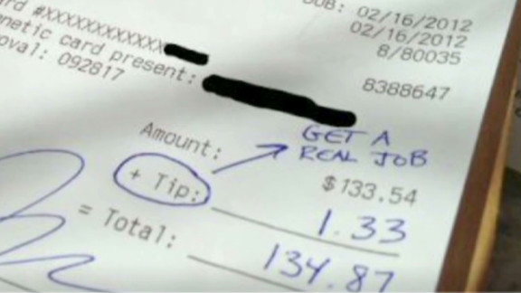 This receipt that supposedly proves a banker left a server a 1% tip? Faked.