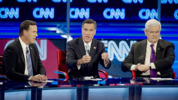 GOP presidential candidates Rick Santorum, Mitt Romney and Newt Gingrich face off in last week's debate in Mesa, Arizona.