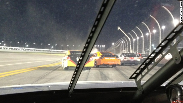 NASCAR driver Brad Keselowski uploaded this photo of an explosion on the race track to Twitter.