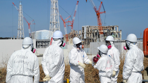 A TEPCO worker explains the situation at the stricken Fukushima Daiichi nuclear plant, February 28, 2012.