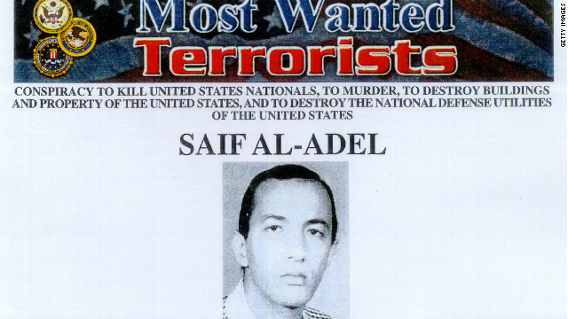 """Most Wanted Terrorist"" poster of Saif al-Adel released by the FBI on October 10, 2001. In an apparent mix up, Egypt says the man they seized at Cairo's airport was not Saif al-Adel."