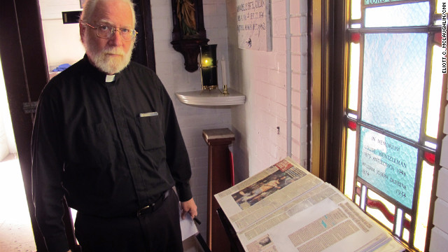 Terry keeps the 2010 murder book in the church's chapel. His wife collected news clippings about each murder until it became too emotionally taxing.