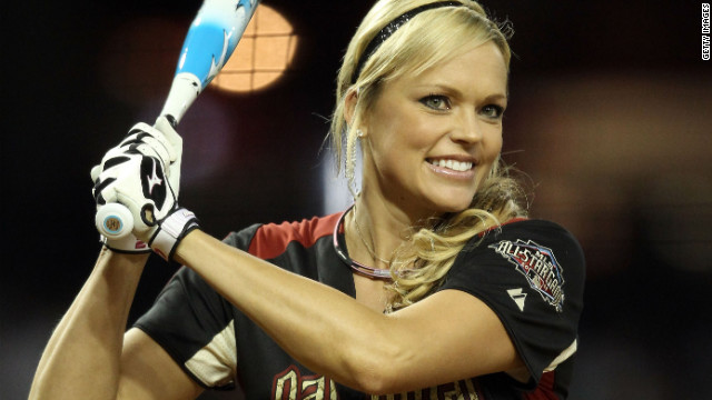 Jennie Finch warms up during the 2011 Taco Bell All-Star Legends & Celebrity Softball Game in Phoenix, Arizona.