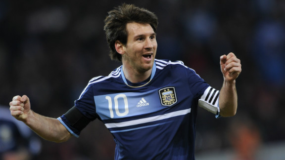 Barcelona ace Lionel Messi celebrates the opening goal of his hat-trick in Argentina