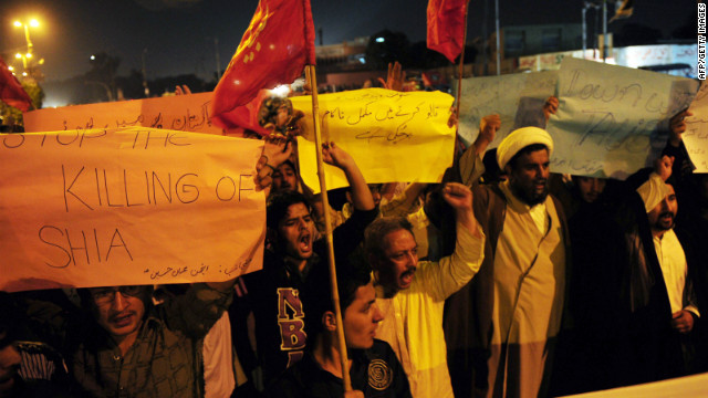 Pakistani Shiite Muslims protest against the killing of their community members in Karachi on February 28, 2012.