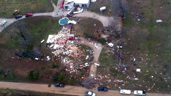 Aerial photos taken by Air Evac Lifeteam in Stoddard County, Missouri, show the scope of storm damage.