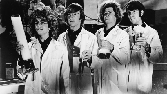 """The Monkees dressed as """"mad scientists"""" in the early 1970s for their television show."""