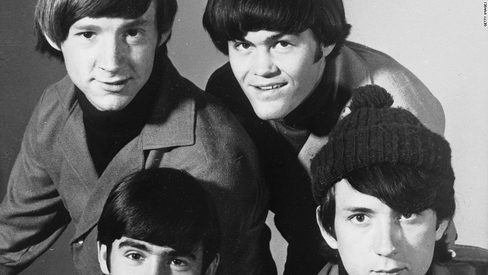 "The Monkees -- Peter Tork and Micky Dolenz, top, and Davy Jones and Michael Nesmith -- pose for a group portrait in 1967. The pop group was created to star in an NBC sitcom and capitalize on the Beatles' teenybopper popularity. ""The Monkees"" TV series premiered in the fall of 1966."