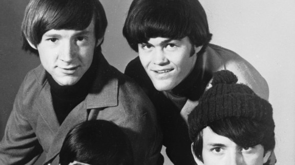 """The Monkees -- Peter Tork and Micky Dolenz, top, and Davy Jones and Michael Nesmith -- pose for a group portrait in 1967. The pop group was created to star in an NBC sitcom and capitalize on the Beatles' teenybopper popularity. """"The Monkees"""" TV series premiered in the fall of 1966."""