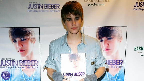 "At 16, Bieber was already an author. Here he promotes his book, ""First Step 2 Forever: My Story,"" at a New York bookstore in November 2010."