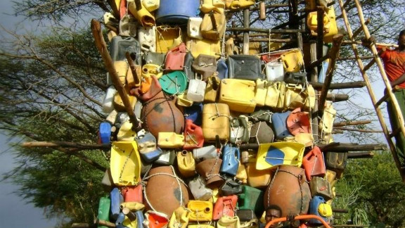 """Ethiopian artist Kebreab Demeke says the jerry can -- known locally as a """"jerekina"""" -- has become a ubiquitous part of his nation"""