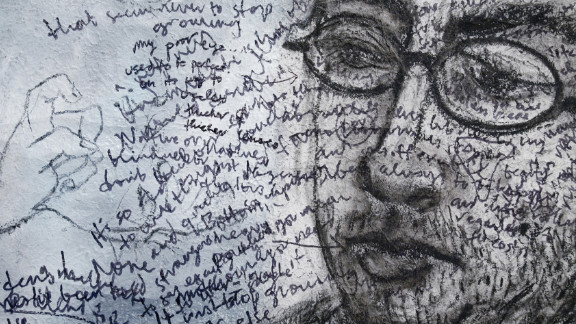"""Foer did free-association writing on top of a portrait Messer drew of him. """"He's always more curious about what he's not doing than what he's doing,"""" says Messer."""