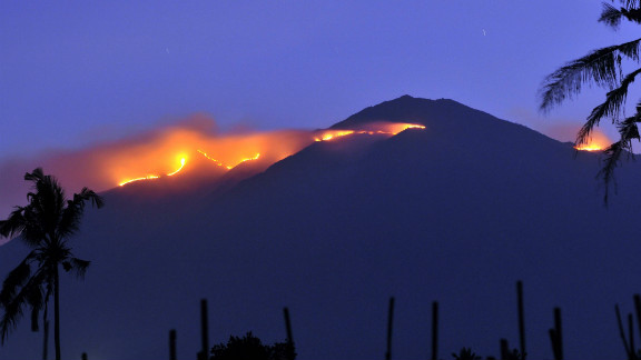 A forest fire engulfs the summit of Mount Merbabu on Indonesia