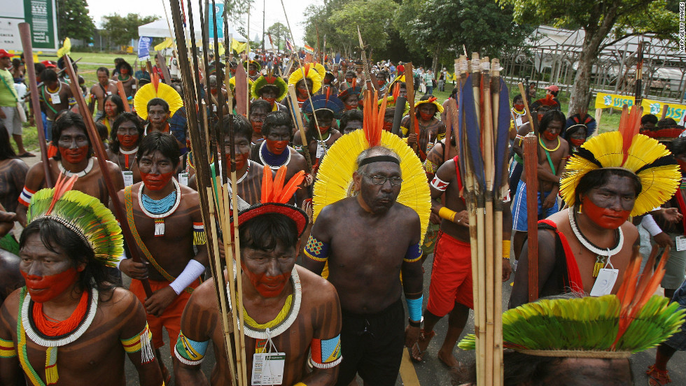 Indigenous peoples pictured on a rainforest protest march in Para, in the Brazilian Amazon, in 2009.
