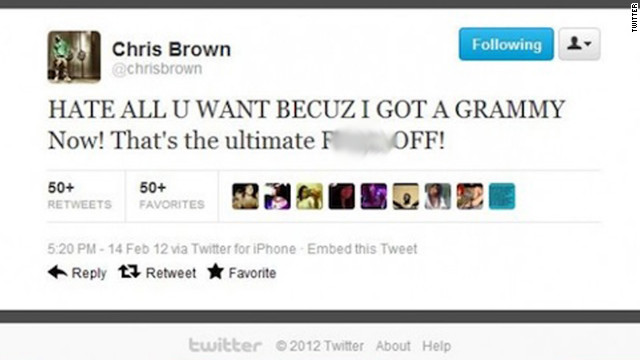 Singer Chris Brown lashed out at critics on Twitter after the Grammys in February, then tried to delete his tweets.
