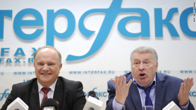Presidential candidates Gennady Zyuganov (left) and Vladimir Zhirinovsky pictured at a debate in Moscow on Monday.