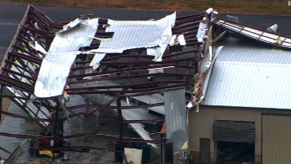 An overnight storm shredded the roof of a business in Paulding County, Georgia.